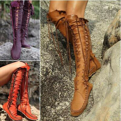 Combat Gladiator Womens Knee High Knight Boots Boot Lace Up Flat Punk Shoes Goth