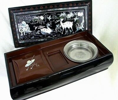 CHINESE LACQUER SMOKING BOX *MOTHER OF PEARL INLAY* COMPARTMENTS c.1920'S
