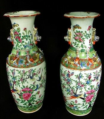 ANTIQUE CHINESES VASES *FAMILLE ROSE* QING DYNASTY A PAIR! c.1850'S