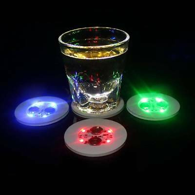 Flashing Light LED Coaster Bulb Bottle Cup Mat Light Up For Club Bar Party Decor