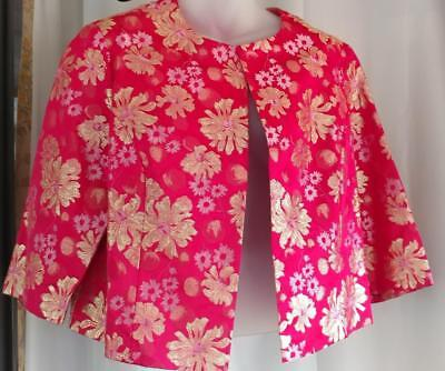 Vtg 1960s Pink Gold Metallic Flowers MOD Chinoiserie Bolero Cropped Jacket L