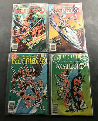 The Warlord Lot of 4 DC Comics Vintage 1983-1984 W Protective Sleeves