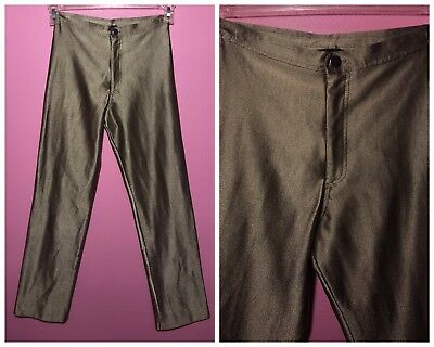 Le Gambi 1970s Green Metallic Lycra Spandex Disco Pants High Waisted Size XS/S
