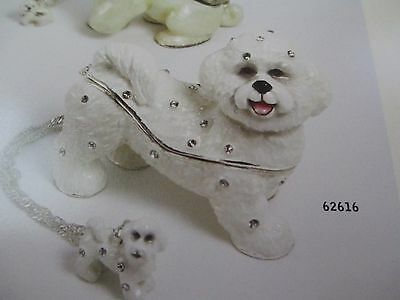 FELICITY the BICHON  ~JEWELED TRINKET BOX & MATCHING NECKLACE #62616