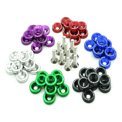10X M6 Fender Washers License Plate Bolts Washer Kit Aluminium Steel Bolt 7Color