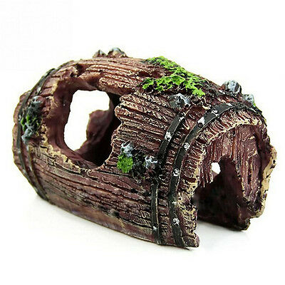 Aquarium Fish Tank Barrel Resin Ornament Cave Landscaping Furnishing Decor HU