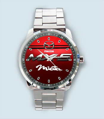 NEW RARE !! Mazda MX-5 Miata Car Racing Logo Red Sport Design Sport Metal Watch
