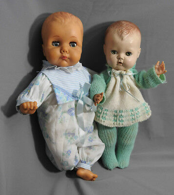 """Vintage American Character Tiny Tears Baby And Pm Baby Dolls Lot 13,5"""", 15"""" Tall"""