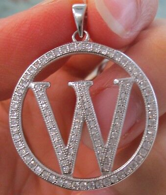 "925 STERLING SILVER Big Initial Letter ""W"" in Round Bling cz Pendant Women Teen"