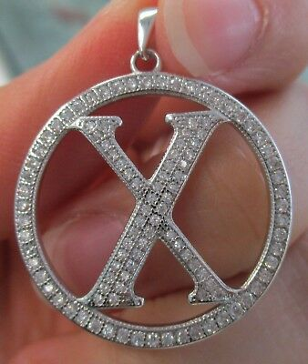 "925 STERLING SILVER Big Initial Letter ""X"" in Round Bling cz Pendant Women Teen"