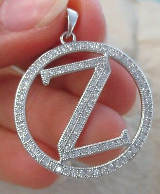 "925 STERLING SILVER Big Initial Letter ""Z"" in Round Bling cz Pendant Women Teen"