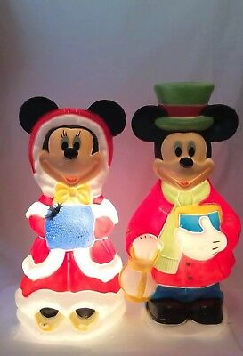 "Mickey & Minnie Mouse Blow Mold Set 32"" Disney Christmas Decorations Lighted"