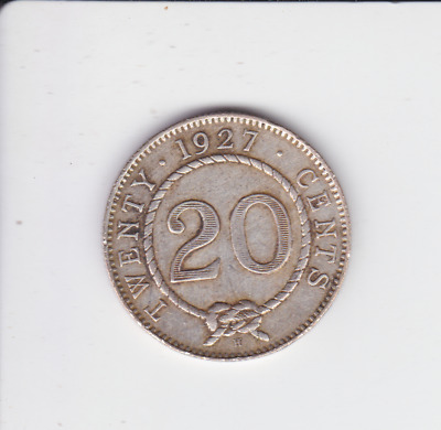 1927 H Sarawak 20 cents Silver Coin low mintage Charles Rajah A-219