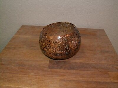 Carved, Perforated Coconut Bowl