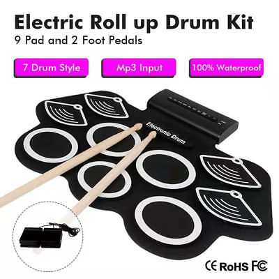 9 Pad Electronic Roll Up Drum Kit Silicone Portable Electric Hand Roll Drum Kit