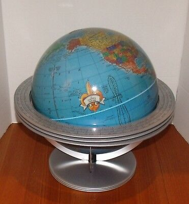 Mid-Century George F. Cram Co. Desktop World Globe w/Atomic Cradle Metal Stand