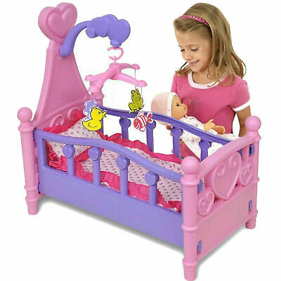 New Girls Baby Doll & Rocking Cradle Cot Bed Set Children Kids Pretend Play Sets
