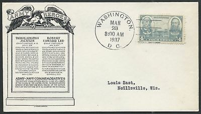 Civil War Confederate Army General Robert E. Lee & Jackson Stamp First Day Cover