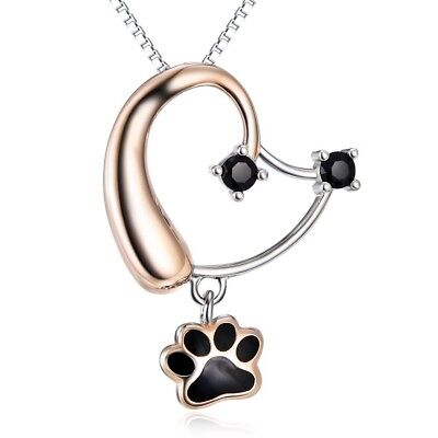 Sterling Silver Rose Gold Cute Puppy Dog Head Paw Womens Heart Pendant Necklace