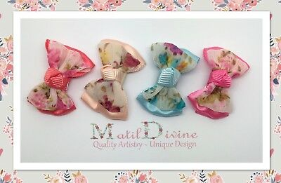 Baby Girls Non Slip Hair Clips 3 cm Snap Clips Shabby Rose Bows ~ Set of 4