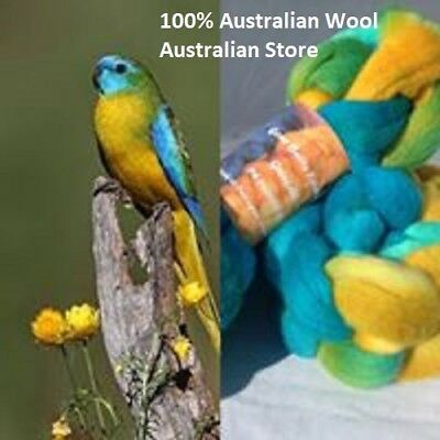 wool roving Turquoise Parrot -100g 29 or 22 micron