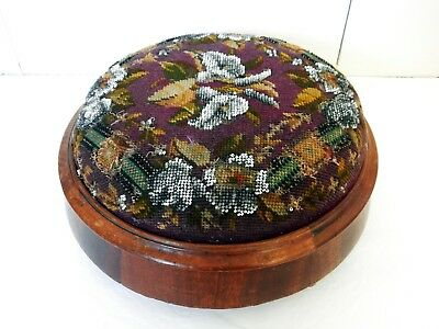 Beautiful Antique Victorian Mahogany Timber Beaded Tapestry Foot Stool Footstool