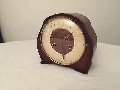 Vintage Smiths 8-day striking mantel clock with polished two-tone timber case