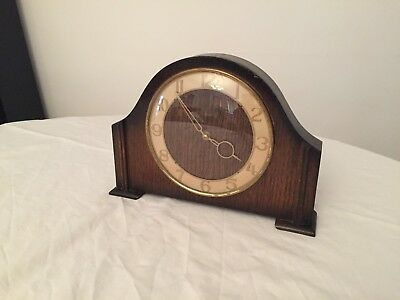 Vintage Smiths 30-hour slimline mantel clock with two-tone polished timber case