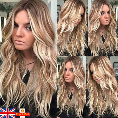 27'' Long Curly Wavy Brown Blonde Ombre Synthetic Cosplay Costume Wig+Hair Cap