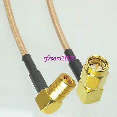 Cable RG316 6inch SMA male plug 90° to SMB female right angle RF Pigtail Jumper