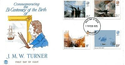 GB Stamps FDC 1975 JMW Turner Bi-Centenary - Unaddressed - Glasgow HS