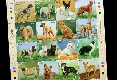 Malta  DOGS Mint Sheet of 16 stamps of €0.59 denomination Issued 23rd Oct 2018