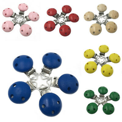 5 pcs Multi-colors Round Wooden Connector Metal Dummy Clip Baby Pacifier Holder