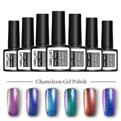 LEMOOC 8ml Chameleon UV Gel Laser Sequins Glitter Soak Off Nail Art Gel Polish