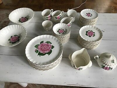 WS George 64 Piece China Set With Roses. Perfect Shabby Cottage Look