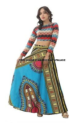 New African Ankara Wrap Around Dashiki Print High Waist Pleated Beach Maxi Boho