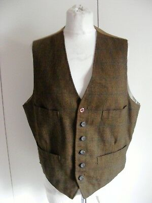 Vintage 1940s brown wool tweed waistcoat four front pockets chest 42""