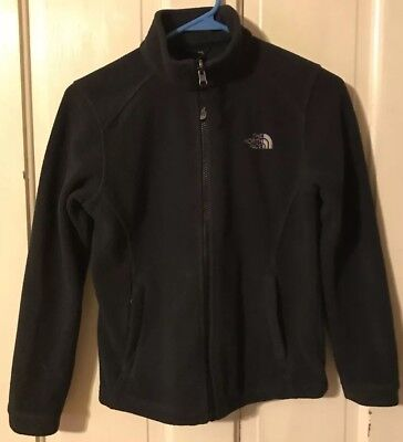 The North Face Girls Medium Youth Kids Black Zip Up Fleece Jacket M Sweatshirt