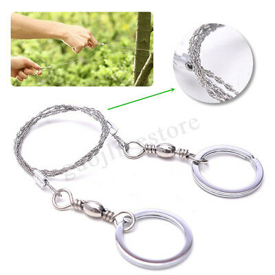 1-4Pcs Stainless Steel Ring Wire Hiking Camping Saw Outdoor Survival Emergency