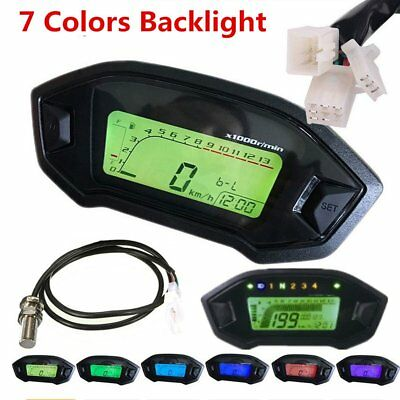 Motorcycle LCD Digital Speedometer Tachometer Odometer Gauge 7 Colors Backlight