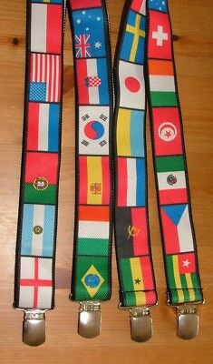 Vintage 90's Flags Of The World Braces / Suspenders