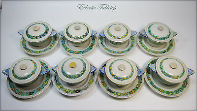 Set of Eight CANTAGALLI Italy Hand Painted Covered Soup Bowls with Saucers