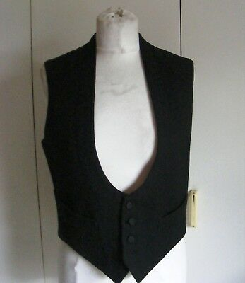 "Vintage 1940s black wool felt evening wear waistcoat silk buttons 36"" chest"