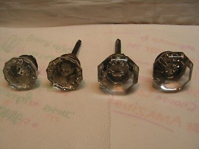 Lot of Vintage 4 Mixed Glass Crystal Door Knobs Shabby Chic W/Set Screws 2Shafts