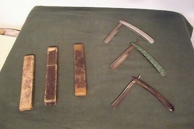 Nice Lot of Three Straight Razors - One Sheffield 'A Closer Shave' - with Cases