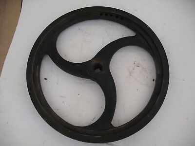 """Antique 1 Groove Sheave Pulley 10 3/8"""" Od W/tapered Axle Hole 1/2""""~9/16"""""""