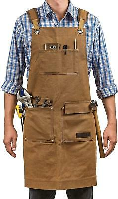 Luxury Waxed Canvas Shop Apron | Heavy Duty Work Apron for Men & Women