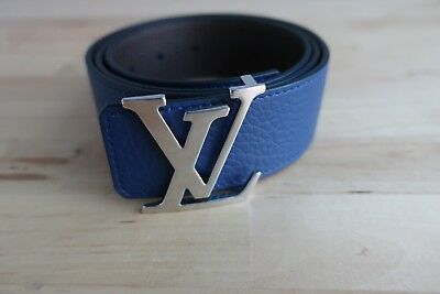 6ae04615abd1 LOUIS VUITTON REVERSIBLE Belt Leather Blue Brown BRAND NEW 34