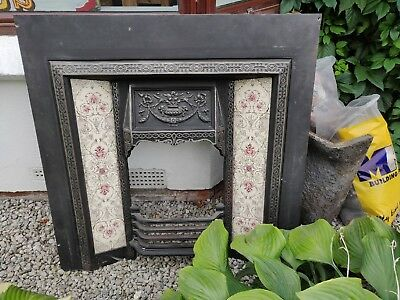 Victorian Style Cast Iron Fireplace, Ceramic Tiled Trim, Wooden Surround, & Co.