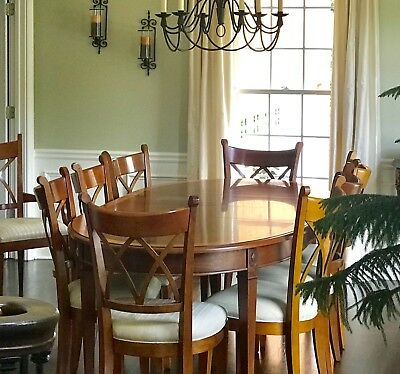 Harden Dining Room Table with pads and 10 chairs